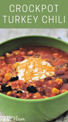 Chili Recipes, Turkey Recipes, Crockpot Recipes, Cooker Recipes, Soup Recipes, Easy Turkey Chili, Ground Turkey, Easy Dinner Recipes, Crock Pot