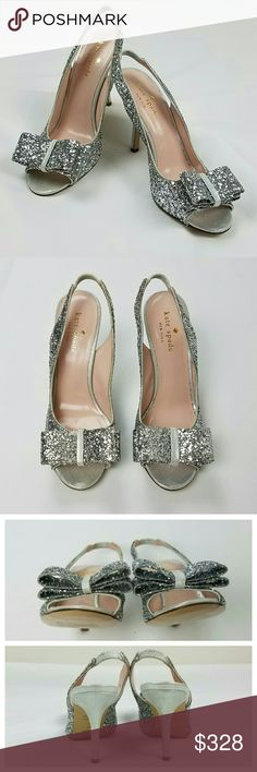 """KATE SPADE NY Charm Glitter Bow Slingback Heels Charm glitter bow sling back heels by Kate Spade New York. Silver colored glitter. Shimmery suede heel, peep toe, stretch slinkback strap, padded leather lining, leather lining and sole. Made in Italy.   New without tag [NWOT], never worn.  Small discoloration to back of one heel and one elastic strap, price sticker residue on soles as seen in photos.   Size 5.5  Measures approximately:  Heel - 3.5"""" Bow - 3"""" across, 1.25"""" wide   Host Picks…"""