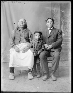 Tawakoni Jim with son and grandson - Anadarko Caddo - 1904