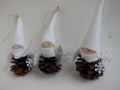 Pinecone Elf Ornament Trio -- Woodland Holiday Decor - Forest Gnomes - Tabletop Mantel Tree - Stocking Stuffer - White. $25.00, via Etsy.