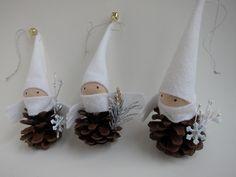 Pinecone Elf Ornament Trio -- Woodland Holiday Decor - Forest Gnomes - Tabletop Mantel Tree - Stocking Stuffer - White. $25.00, via Etsy.
