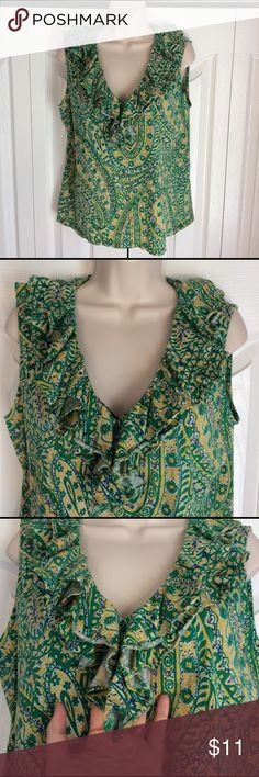 "Ralph Lauren ruffled tank Paisley tank top with ruffled v-neck. Double layer of ruffles all the way around neckline. Shoulder is 3"" wide. 20.5"" across bust armpit to armpit when laid flat. 100% cotton. Pre loved in good condition. 💲I ❤️ OFFERS!💲 🌟TOP-RATED🌟 📦📬FAST SHIPPER📬📦 🎁USE BUNDLE FOR SAVINGS🎁 Lauren Ralph Lauren Tops Blouses"