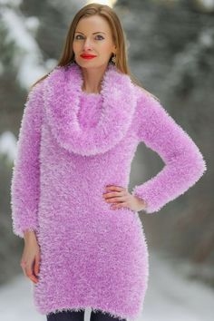 Great for Fuzzy sweater dress sexy fashion cowlneck winter tunic fluffy top SuperTanya women's winter dresses from top store Fluffy Sweater, Mohair Sweater, Hand Knitted Sweaters, Knit Pants, Winter Dresses, Sexy Dresses, Knitwear, Clothes, Tunic