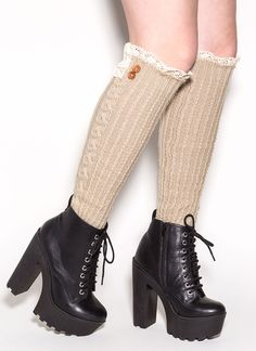 Cable Darling Knit Legwarmers This would be so cute w/skirt & plaid shirt.