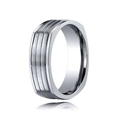 Titanium Wedding Band Comfort Fit Satin Finished Four Sided - 7mm, $100.80 in a variety of sizes