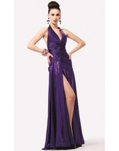 Attractive Empire Halter Sweep Train Elastic Woven Satin Holiday Dresses with Ruffle (020003247)