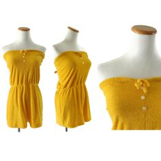 Terry Cloth Romper 70s Playsuit Onesie 1970s Disco Hipster Golden Yellow Terrycloth One Piece Size Medium Large by GoodLuxeVintage on Etsy