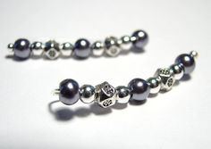 Ear Pins Blue Gunmetal Silvery Glass Pearl by TheGratitudeStudio, $16.00