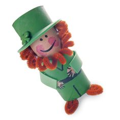 A leprechaun made from a toilet paper holder. Cute!