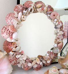 Decorating Mirrors with Seashells | Old Seashell Mirror Beach Cottage Decor