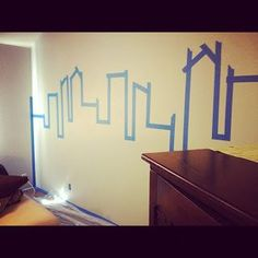 Painting Gotham City accent wall.Superhero room.