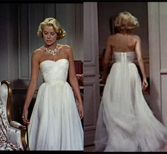 """Princess Eugenie Says Grace Kelly Inspired Her Elegant Wedding Reception GownThis look isn't from the red carpet, but the movie, """"To Catch a Thief"""". Grace Kelly as usual looks stunningly beautiful. Eugenie Says Grace Kelly Grace Kelly Wedding, Grace Kelly Style, Wedding Reception Gowns, Movie Wedding Dresses, Wedding Venues, Pretty Dresses, Beautiful Dresses, Grace Kelly Dresses, Princesa Grace Kelly"""