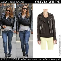 Olivia Wilde in black leather biker jacket Balenciaga blue jeans and hi top sneakers Want Her Style #oliviawilde #fashion #style #streetstyle #biker #jacket #leather