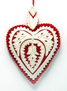 Felt Design Heart Ornament - (Hungary)