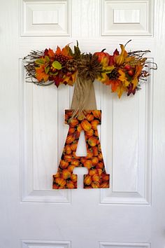 Fall Monogram Door Hanger, Large Initial Wall Decor, Fall Letter Door Hangar, Halloween Decor, Thanksgiving Decor, Door Decor, Home Decor by PictureItDecor on Etsy