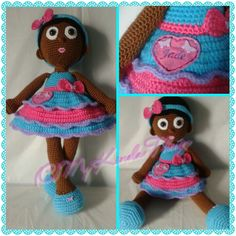Crochet Doll; African American girl with removable headband.
