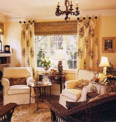 casual, comfortable, living room, family room, linen, wicker, bamboo, floral curtains hung on knobs