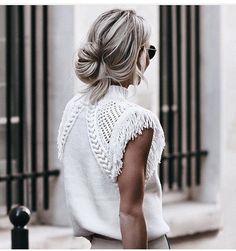 White fringe top.