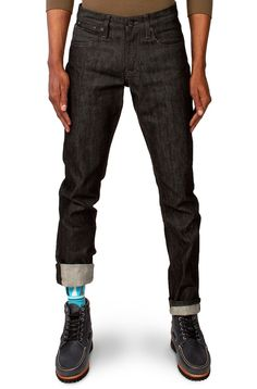 "Tall Slim Guys 40"" inseam Raw Black Denim Jeans. Williamsburg ..."