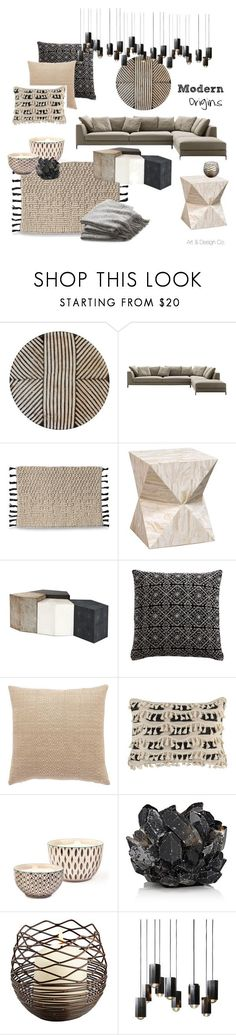 """Modern Origins Living Room 1"" by artanddesignco on Polyvore featuring interior, interiors, interior design, home, home decor, interior decorating, B&B Italia, Palecek, Aniza and Jaipur"