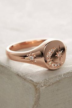 Moon & Stars Diamond Signet Ring Stars And Moon, Sun Moon, Jewelry Branding, Bling Bling, Star Ring, Ring Ring, Signet Ring, Women Jewelry, Free People Jewelry