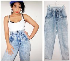 madonna 80's style | High Waist Jeans 80's Madonna Style Acid Wash Womens Size 9/10