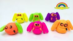 Learn Colors with Play Doh finger family poppet molds