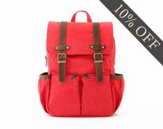 Lightdays Diaper Bag Backpack / Canvas Backpack / Red by Oliday