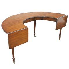 Kittinger Semi-Circular Dropleaf Walnut Desk   See more antique and modern Desks at http://www.1stdibs.com/furniture/storage-case-pieces/desks