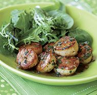 Seared Scallops with Herb-Butter Pan Sauce - best recipe ever for pan seared scallops.