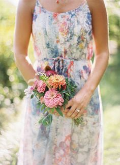 floral bridesmaids dress and bouquet to match