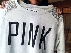 Pink grey sweat with cheetah shoulders