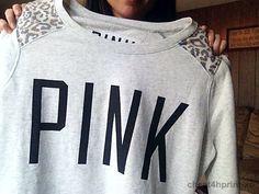 Pink grey sweat with cheetah shoulders