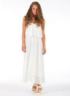 White chiffon maxi dress www.UsTrendy.com #white #maxi #dress #chiffon #sleeveless #chic #summer #ootd #cute #love