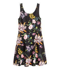 Ärmelloses Jerseykleid | Schwarz/Geblümt | Damen | H&M DE