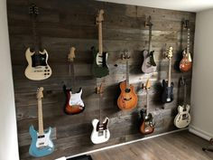 I built a reclaimed wood wall to hang my guitar collection on. First DIY post. Home Music Rooms, Music Studio Room, Guitar Room, Guitar Wall, Guitar Chords, Acoustic Guitar, Guitar Display Wall, Guitar Storage, Deco Studio