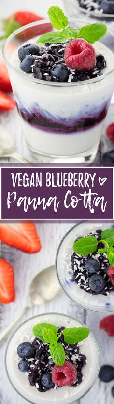 This vegan blueberry coconut panna cotta is just as amazing as the original - if not even better! The secret ingredient is agar instead of gelatin. One of my favorite vegan desserts! <3 | veganheaven.org