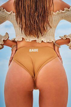 dfaf79dcfb7aa SARAH ASHCROFT BABE SLOGAN TAN HIGH LEG BIKINI BOTTOMS High Leg Bikini