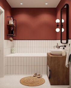 Home Interior Design Cor das paredes.Home Interior Design Cor das paredes Bad Wand, Bathroom Interior Design, Interior Modern, Interior Ideas, Interior Livingroom, Red Interior Design, Apartment Bathroom Design, Interior Colors, Interior Plants