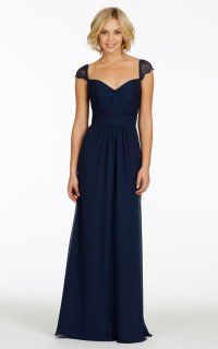 Unique Lace Cap Sleeve Chiffon Dress With Pleats and Keyhole Back