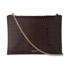 Shiny Croc Chain Pouch, in Burgundy on Whistles