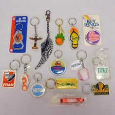 Lot of 15 Vintage Mixed Keychains Key Chains TLC 90210 Fram Texans Hawaii