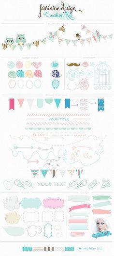 Clip Art Feminine Design Creation Kit Vol 1 by mycandythemes commercial use ok