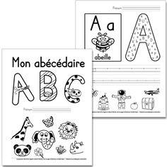Fichier PDF téléchargeable En noir et blanc seulement 27 pages + feuille pour l'enseignant Vous pouvez insérer cet abécédaire dans un duo-tang ou vous servir des fiches séparément. L'élève trouve les versions minuscule et majuscule de la lettre respective dans la grande lettre; il calligraphie la lettre sur les trottoirs et finalement, il encercle les dessins qui contiennent le son de la lettre. En cas de doute sur les images à encercler, consultez la feuille pour l'enseignant. Preschool Letters, Learning Letters, Alphabet Activities, Kids Learning, Kindergarten Language Arts, Kindergarten Literacy, French Alphabet, French Kids, French Education