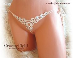 Mini open thong ivory ouvert panties crochet embroidery