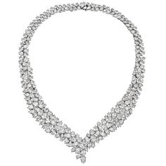 Estate Cartier Pear-Shaped Diamond Necklace    Magnificent diamond necklace, composed of 233 pear-shaped diamonds weighing approximately 97.00 total carats, mounted in platinum, signed Cartier.