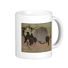 Crows In The Moonlight - Vintage Japanese Woodcut Coffee Mug. Perfect for morning black coffee. With sugar.