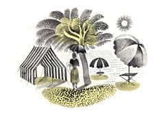 Tent & Parasols by Eric Ravilous, from the Postcard range by Museums & Galleries