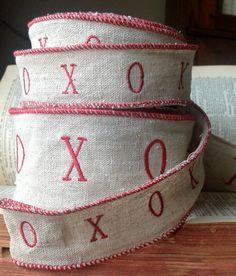ecru linen wired XOXO ribbon farmhouse rustic by ShyMyrtle on Etsy
