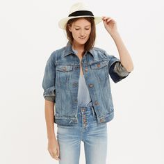 The Jean Jacket in Ellery Wash : denim | Madewell Love this jacket love the slightly worn in and boxier boyfriend fit